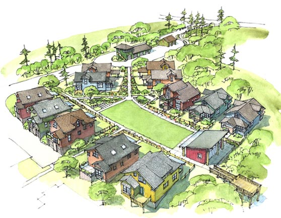 The cottage company conover commons cottages site plan for Small urban house plans